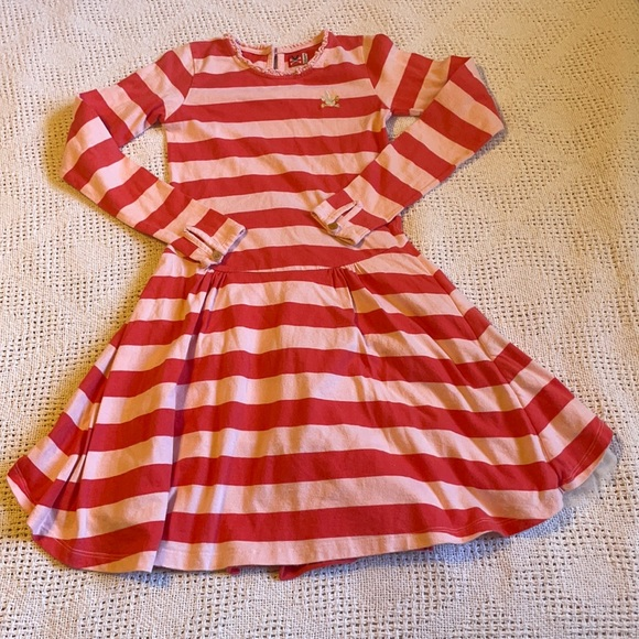 Young girl striped dress